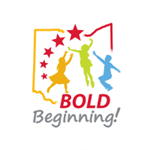 bold beginning logo is shaped like Ohio with 3 child sized silhouettes in the middle